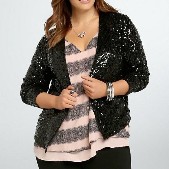 74824ed93b0 Torrid drape front sequin jacket